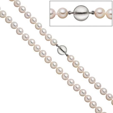 SIGO Perlenkette aus Akoya Perlen 45 cm Schließe 925 Sterling Silber matt | Schmuck > Halsketten > Perlenketten | Silber - Weiß | SIGO
