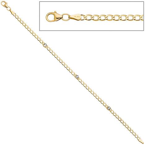 Armbaender für Frauen - SIGO Armband 333 Gold Gelbgold 3 Blautopase hellblau blau 19 cm Goldarmband Karabiner  - Onlineshop Goettgen
