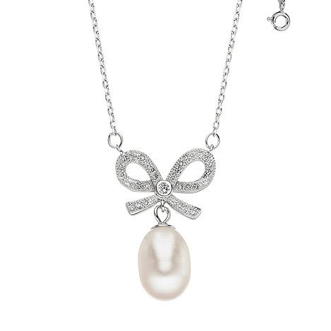 SIGO Kette mit Anhänger Schleife 925 Silber mit 1 Süßwasser Perle und Zirkonia 45 cm   Schmuck > Halsketten > Silberketten   Silber - Weiß   SIGO
