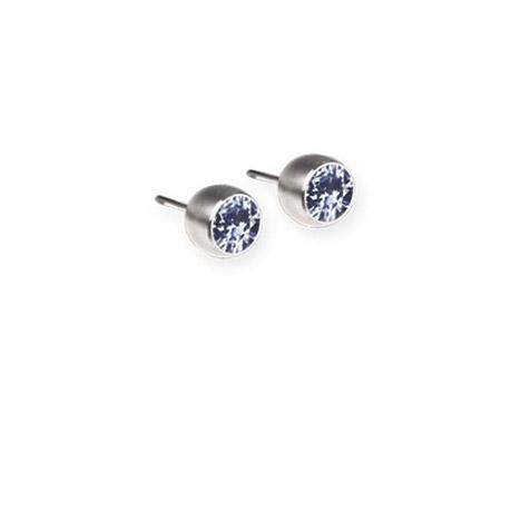 Ohrringe für Frauen - Ernstes Design Ohrstecker, Farbstein aquamarine, 4 mm  - Onlineshop Goettgen