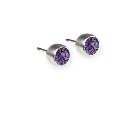 Ohrringe für Frauen - Ernstes Design Ohrstecker, Farbstein lila, 5 mm  - Onlineshop Goettgen