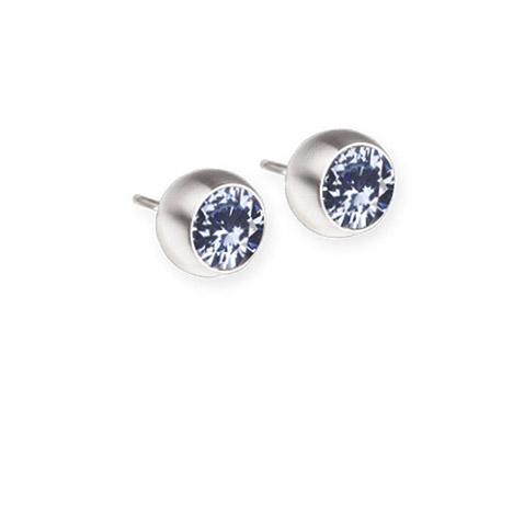 Ohrringe für Frauen - Ernstes Design Ohrstecker, Farbstein hellblau, 6 mm  - Onlineshop Goettgen