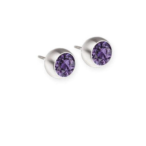 Ohrringe für Frauen - Ernstes Design Ohrstecker, Farbstein lila, 6 mm  - Onlineshop Goettgen