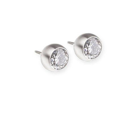 Ohrringe für Frauen - Ernstes Design Ohrstecker, Farbstein white, 6 mm  - Onlineshop Goettgen