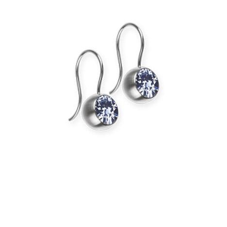 Ohrringe für Frauen - Ernstes Design Ohrhänger, Farbstein hellblau, 5 mm  - Onlineshop Goettgen