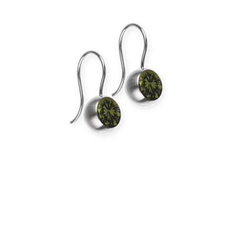 Ohrringe für Frauen - Ernstes Design Ohrhänger, Farbstein olive, 5 mm  - Onlineshop Goettgen