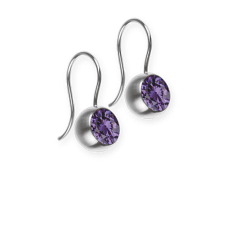 Ohrringe für Frauen - Ernstes Design Ohrhänger, Farbstein lila, 6 mm  - Onlineshop Goettgen