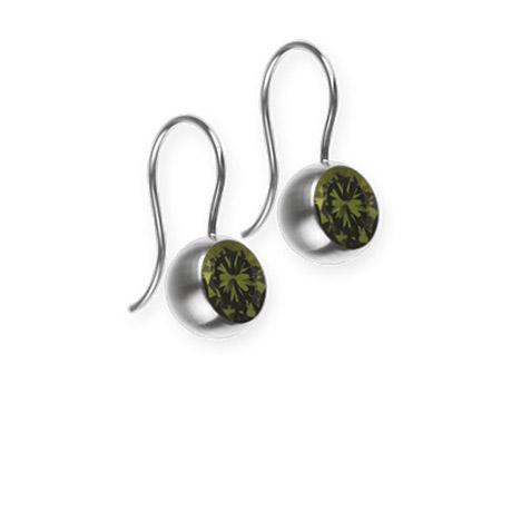 Ohrringe für Frauen - Ernstes Design Ohrhänger, Farbstein olive, 6 mm  - Onlineshop Goettgen