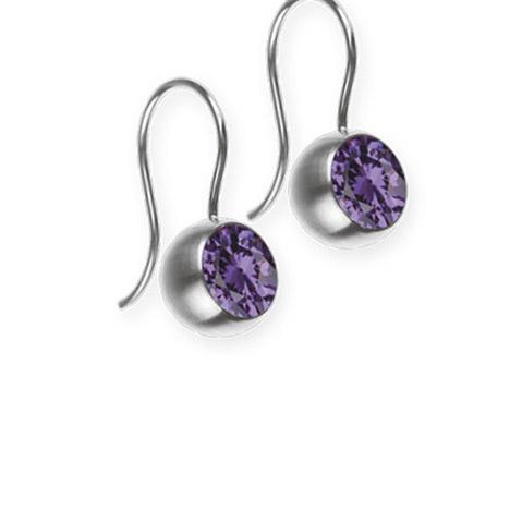 Ohrringe für Frauen - Ernstes Design Ohrhänger, Farbstein lila, 7 mm  - Onlineshop Goettgen