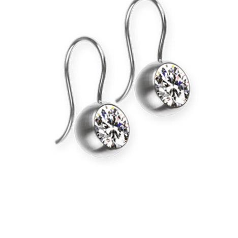 Ohrringe für Frauen - Ernstes Design Ohrhänger, Farbstein white, 7 mm  - Onlineshop Goettgen