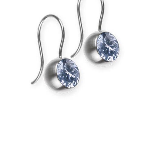 Ohrringe für Frauen - Ernstes Design Ohrhänger, Farbstein hellblau, 8 mm  - Onlineshop Goettgen