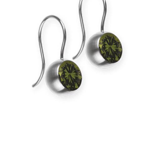Ohrringe für Frauen - Ernstes Design Ohrhänger, Farbstein olive, 8 mm  - Onlineshop Goettgen