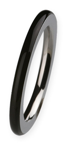 Ernstes Design Ring 2mm, schwarz, Gr. 57