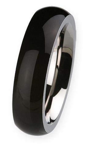 Ernstes Design Ring 6mm, schwarz, Gr. 57