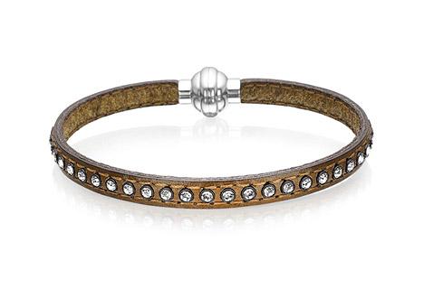 Armbaender für Frauen - Sif Jakobs Armband 925 Silber Arezzo aus army grünem Leder mit weißen Zirkonia 19 cm  - Onlineshop Goettgen