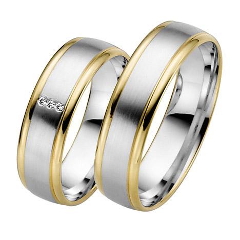 LOVE by Goettgen Trauringe Paar, Weiss/Gelb 333 Gold, Eheringe, bei Damenring inkl. 3 Brillanten