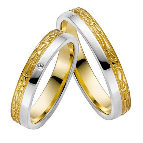 LOVE by Goettgen Trauringe Paar, Weiss/Gelb 333 Gold, Eheringe, bei Damenring inkl. 1 Brillant
