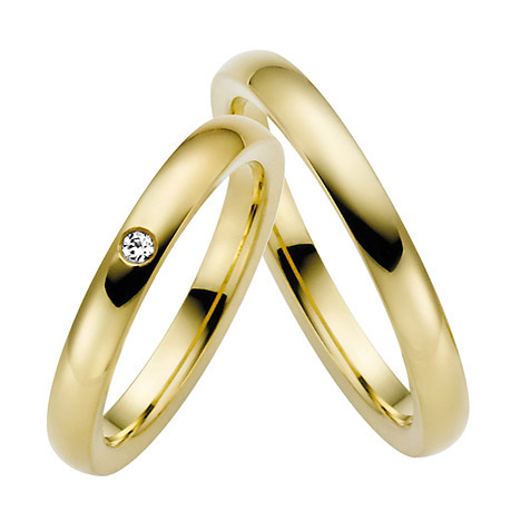 LOVE by Goettgen Trauringe Paar, Gelb 333 Gold, Eheringe, bei Damenring inkl. 1 Brillant | Schmuck > Ringe > Trauringe | Gold - Weiß | Si | LOVE by Goettgen