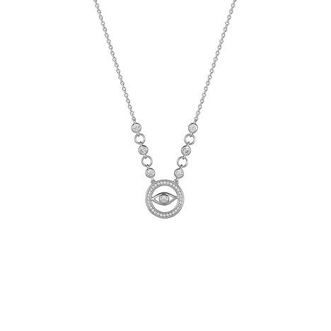 XENOX Collier 925 Silber Zirkonia 45 cm | Schmuck > Halsketten > Colliers | Silber - Weiß | XENOX