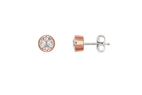 Ohrringe für Frauen - XENOX Ohrstecker 925 Silber Zirkonia rosé vergoldet  - Onlineshop Goettgen