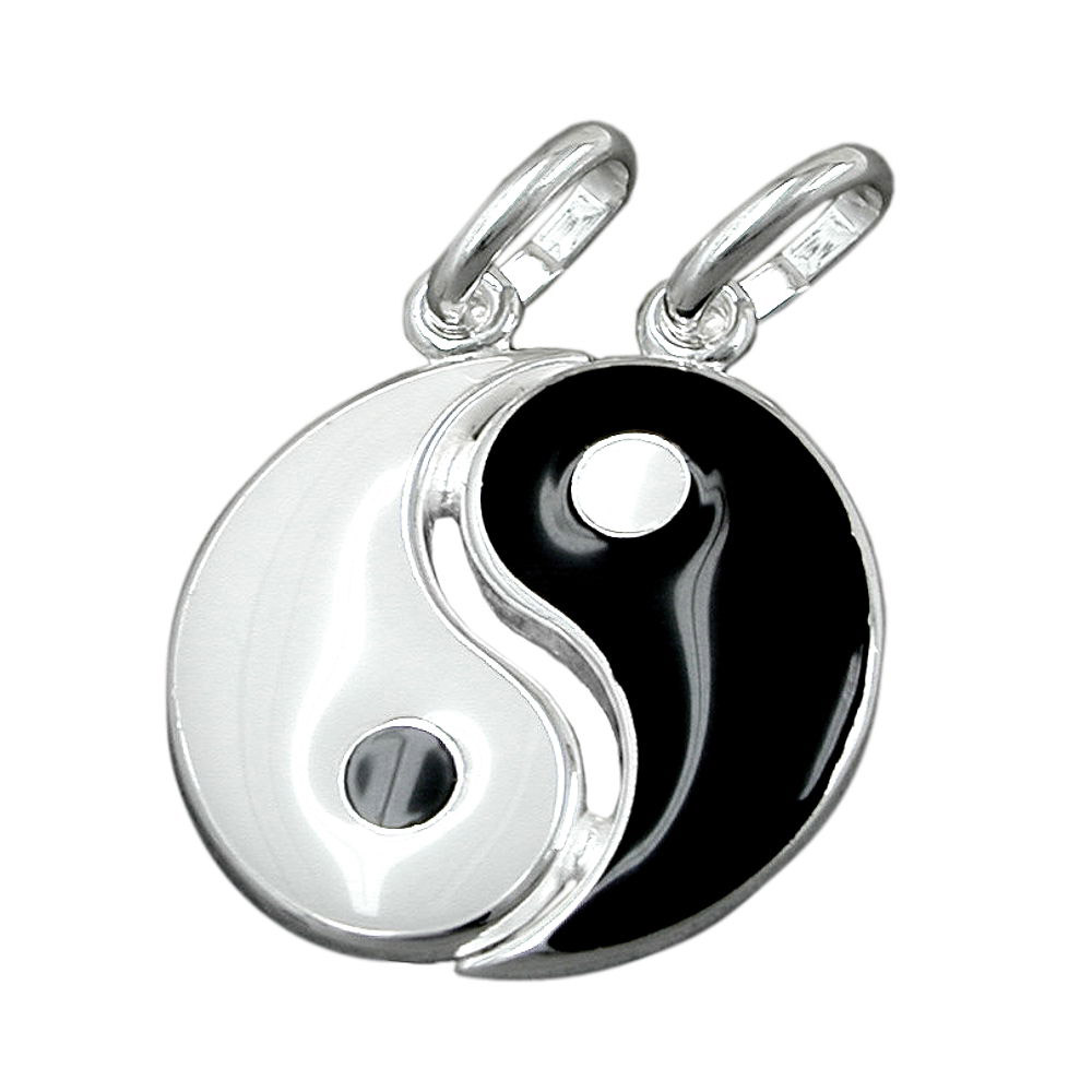 sigo anh nger yin yang lackiert silber. Black Bedroom Furniture Sets. Home Design Ideas