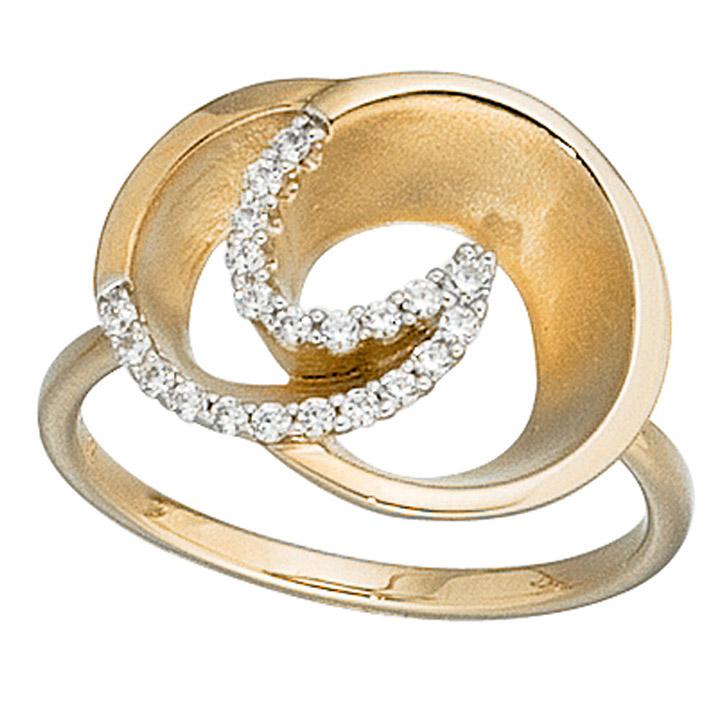 Goldring matt  SIGO - Damen Ring 585 Gold Gelbgold matt 21 Diamanten Brillanten ...