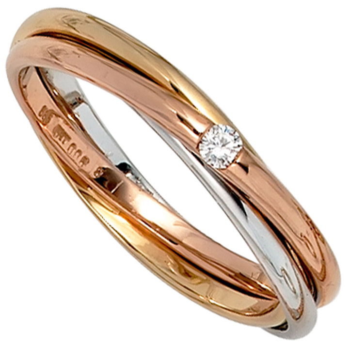 sigo damen ring verschlungen 585 gold tricolor. Black Bedroom Furniture Sets. Home Design Ideas