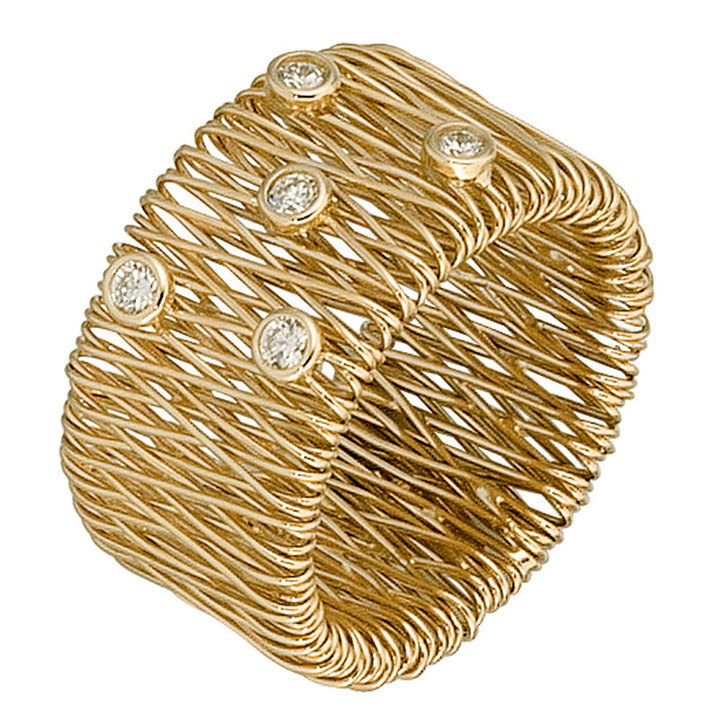 Goldring breit  SIGO - Damen Ring breit 585 Gold Gelbgold 5 Diamanten Brillanten 0 ...