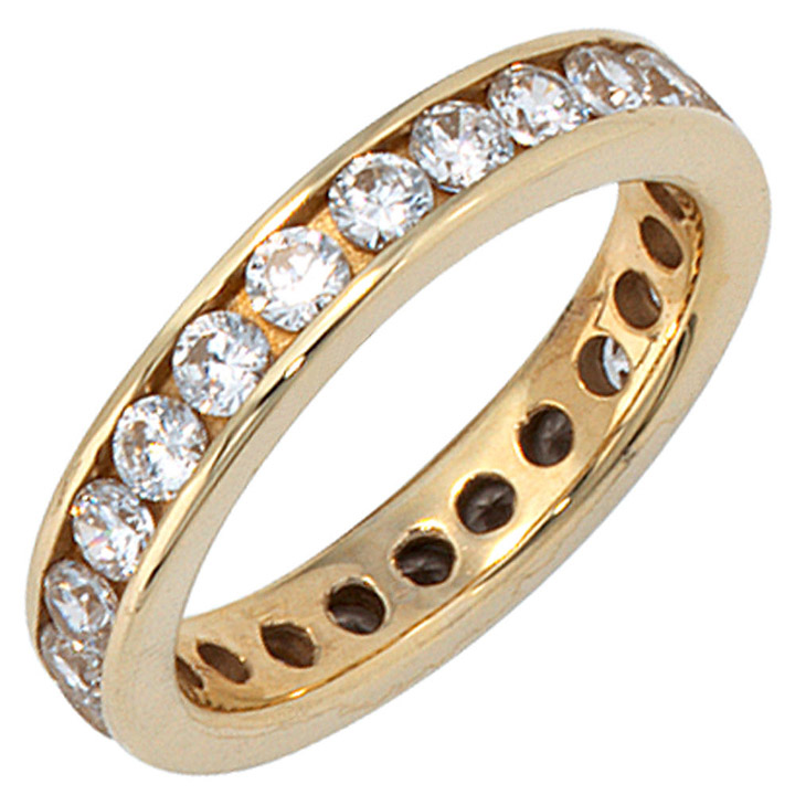 sigo damen ring 333 gold gelbgold mit zirkonia rundum. Black Bedroom Furniture Sets. Home Design Ideas