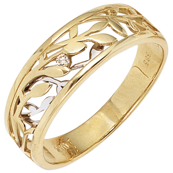 Weißgold ring damen  SIGO - Damen Ring 585 Gold Gelbgold Weißgold bicolor 1 Diamant ...