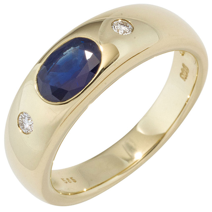 sigo damen ring 585 gold gelbgold 1 safir blau 2. Black Bedroom Furniture Sets. Home Design Ideas