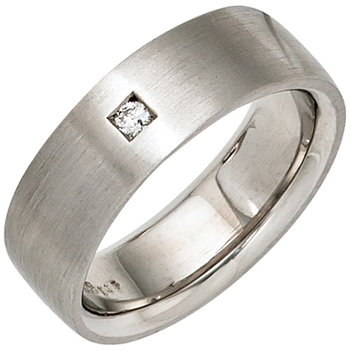 sigo damen ring 925 sterling silber rhodiniert mattiert 1 diamant brillant silberring. Black Bedroom Furniture Sets. Home Design Ideas