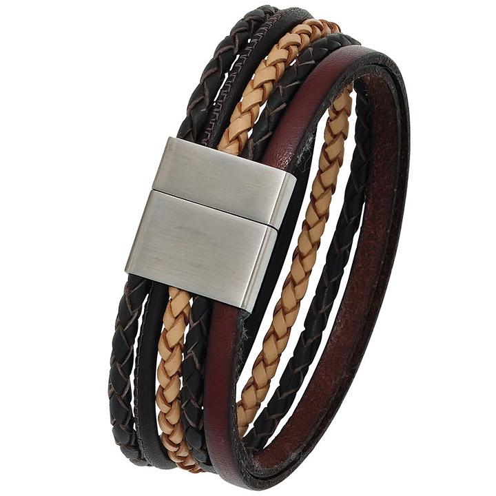 Lederarmband breit  SIGO - Armband Leder mehrfarbig mit mattiertem Edelstahl 20 cm ...