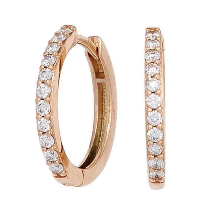 sigo creolen 585 gold rotgold 22 diamanten brillanten. Black Bedroom Furniture Sets. Home Design Ideas