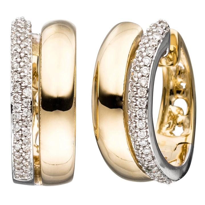 sigo creolen 585 gold gelbgold bicolor 86 diamanten. Black Bedroom Furniture Sets. Home Design Ideas