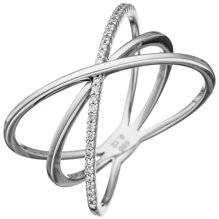 Weißgold ring damen  SIGO - Damen Ring 3-reihig 585 Gold Weißgold 30 Diamanten ...