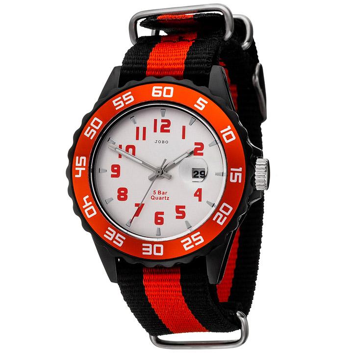 jobo kinder armbanduhr quarz analog schwarz rot kinderuhr mit datum schmuck u. Black Bedroom Furniture Sets. Home Design Ideas