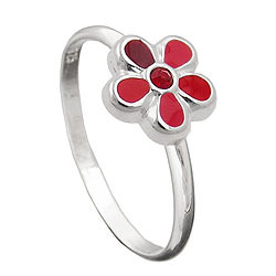 Ring Kinder Blume rot Silber 925