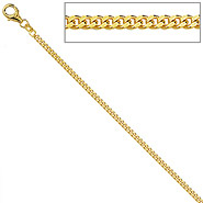 Panzerkette 333 Gelbgold diamantiert 1,3 mm 38 cm Gold Kette Halskette Goldkette