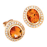 Ohrstecker oval 585 Gold Gelbgold 48 Diamanten 2 Citrine orange Ohrringe