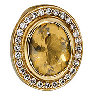 Anhänger oval 585 Gold Gelbgold 28 Diamanten Brillanten 0,23ct. 1 Citrin orange