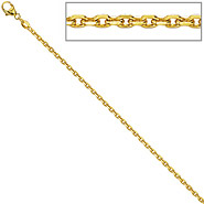 Ankerkette 585 Gelbgold diamantiert 1,9 mm 45 cm Gold Kette Halskette Goldkette