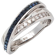 Damen Ring 585 Gold Weißgold 9 Diamanten Brillanten 0,14ct. 17 Safire blau