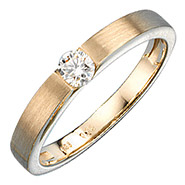 Damen Ring 585 Gold Gelbgold matt mattiert 1 Diamant Brillant 0,25ct. Goldring