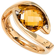 Damen Ring 585 Gold Gelbgold 1 Citrin orange 2 Diamanten Brillanten Goldring