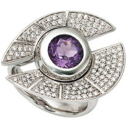 Damen Ring 585 Gold Weißgold 109 Diamanten Brillanten 1 Amethyst lila violett