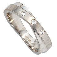 Damen Ring 950 Platin mattiert 3 Diamanten Brillanten 0,06ct. Platinring