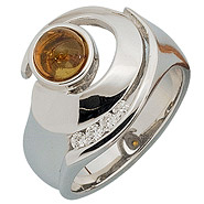 Damen Ring 925 Sterling Silber 1 Bernstein orange 4 Zirkonia Bernsteinring