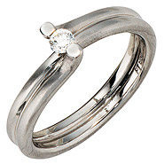 Damen Ring 950 Platin matt 1 Diamant Brillant 0,11ct. Platinring