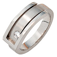 Damen Ring 950 Platin matt 1 Diamant Brillant 0,10ct. Platinring